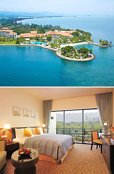 Top: Shangri-La Tanjung Aru Resort <br>Bottom: Kinabalu Wing Mountain View room