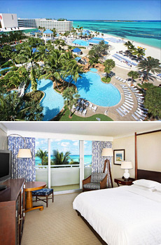 Top: Resort pools & beach<br>Bottom: Ocean view room