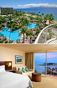 Top: Resort pool & beach <br>Bottom: Ocean view room