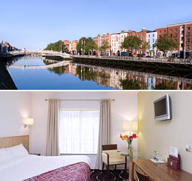 Top: Ha'penny Bridge, Dublin <br>Bottom: The Arlington Hotel