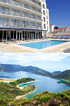 Top: Hotel Vila Nova<br>Bottom: The Azores archipelago
