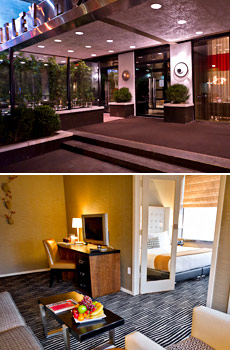 Top: Hotel exterior<br>Bottom: One-bedroom suite
