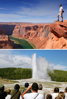 Top: Grand Canyon National Park<br>Bottom: Yellowstone National Park