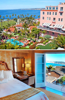 Top: Hotel pool<br>Bottom: Oceanview room