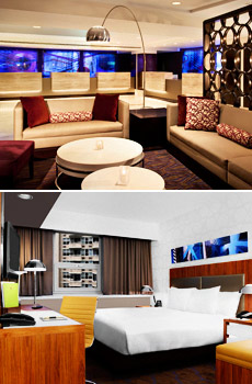 Top: Lobby lounge<br>Bottom: Renovated room