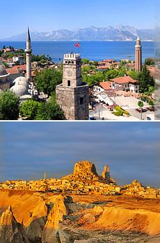 En haut : Antalya<br>En bas : la Cappadoce
