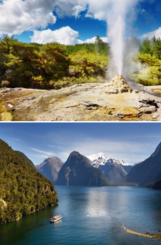 Top: Rotorua<br>Bottom: Milford Sound Cruise
