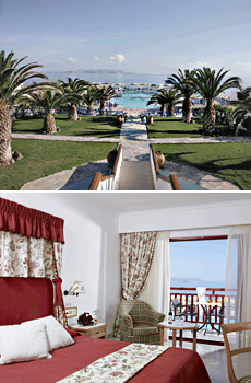 Top: Mitsis Rinela Beach Resort & Spa<br>Bottom: Seaview Room