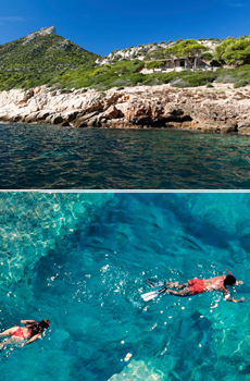 Arriba: Costa Isla Dragonera<br>Abajo: snorkeling