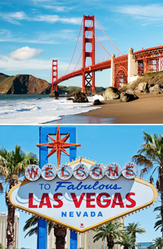 Top: Golden Gate Bridge<br>Bottom: Las Vegas