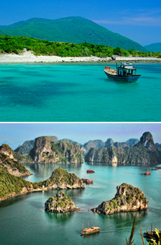 Top: Nha Trang beach<br>Bottom: Halong Bay<br>