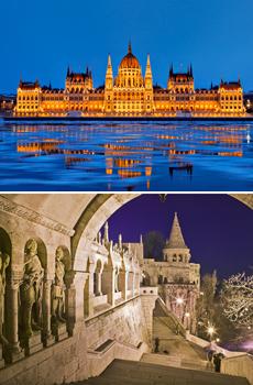 Arriba: Parlamento de Budapest<br>Abajo: Fishermen's Bastion