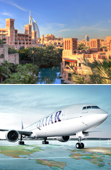 Top: Dubai<br>Bottom: Qatar Airways plane