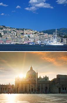 Arriba: Génova<br>Abajo: Ciudad del Vaticano