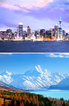 Arriba: Auckland<br>Abajo: Mt. Cook