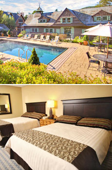 Top: Heated outdoor spa pool<br>Bottom: Guestroom
