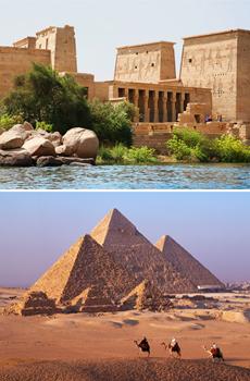 Arriba: Abu Simbel<br>Abajo: Pirámides de Giza