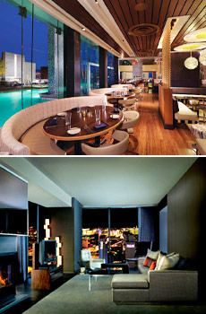 Top: Simon Restaurant & Lounge<br>Bottom: One-Bedroom Suite