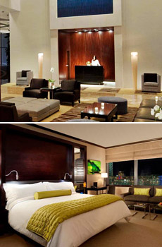 Top: Vdara lobby<br>Bottom: Deluxe studio suite