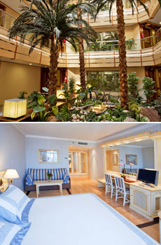 Top: Interior of the hotel<br>Bottom: Superior Room