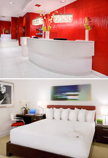 Top: Hotel lobby<br>Bottom: Boulevard King Room