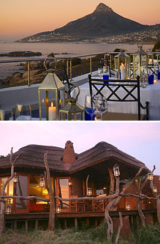 Top: Azure restaurant at Twelve Apostles Hotel & Spa<br>Bottom: Madikwe Safari Lodge<br>