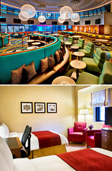 Top: Marriott Marquis' Broadway Lounge<br>Bottom: Marriott East Side Guestroom