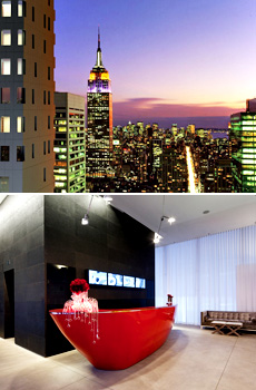 Top: New York skyline<br>Bottom: Cassa Lobby