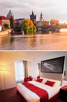 Top: Prague<br>Bottom: Red & Blue Design Hotel, Prague