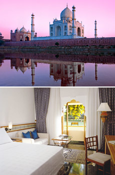 Top: Taj Mahal<br>Bottom: Trident Hotel, Jaipur