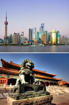 Arriba: Shangai<br>Abajo: Ciudad Prohibida de Pekín