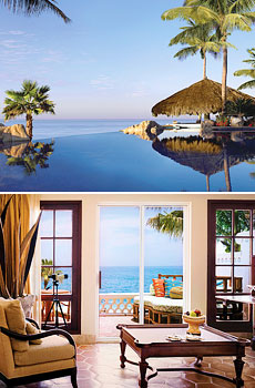 Top: One of three pools<br>Bottom: Oceanfront superior room