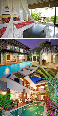 Top: The Junno Boutique Villas<br>Middle: Ombak Residence<br>Bottom: Villa Tropis