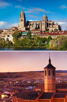 Arriba: Catedral de Salamanca<br>Abajo: Iglesia de Santiago en Ávila<br>