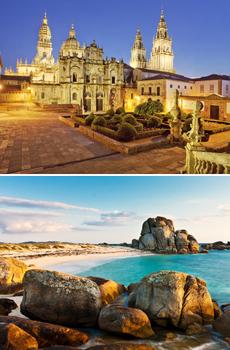 Arriba: Catredral de Santiago<br>Abajo: Playas de Pedras Negras