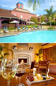 Top: Pool area <br>Bottom: Bacchus Restaurant & Wine Bar on site<br>