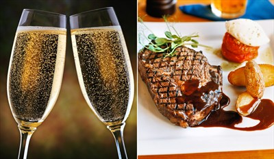 £29 -- Steak Dinner for 2 w/Bubbly in French Bistro, Reg £62